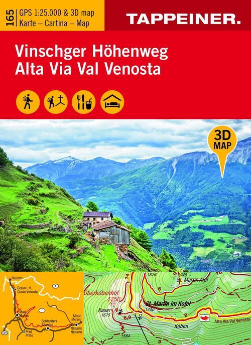 Afbeelding van 3D-Wanderkarte Vinschger Höhenweg 1 : 25 000