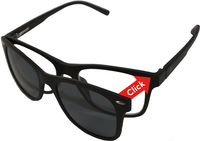 Mat zwart ClipOn duo-leesbril - UV400 zonnelens (+1)-