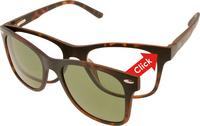 Mat tortoise ClipOn duo-leesbril - UV400 zonnelens (+1)-