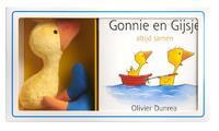Gonnie en Gijsje met pluchen knuffel-Olivier Dunrea